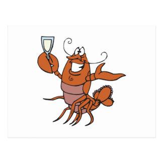 toasting lobster postcard