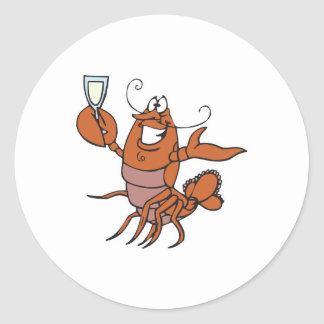 toasting lobster round sticker