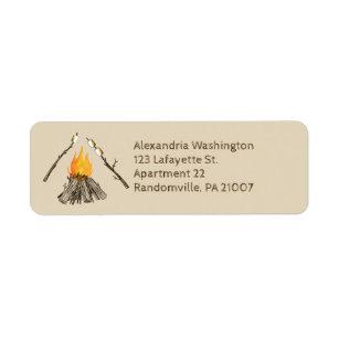 Toasting Marshmallows Campfire Return Address Label