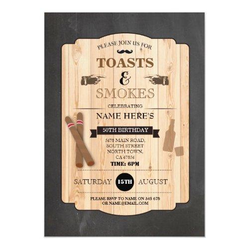 Toasts  Smokes Cigar Birthday Party 40th Invite