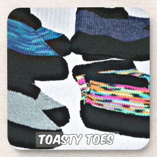 toasty toes handknit slippers beverage coaster