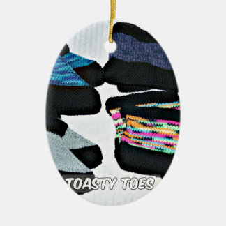 toasty toes handknit slippers ceramic ornament