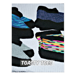 toasty toes handknit slippers postcard