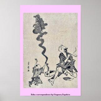 Toba e correspondence by Utagawa,Toyohiro Print