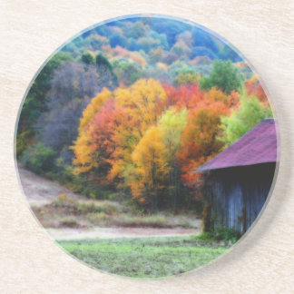 Tobacco Barn Fall Foliage Nature Coaster