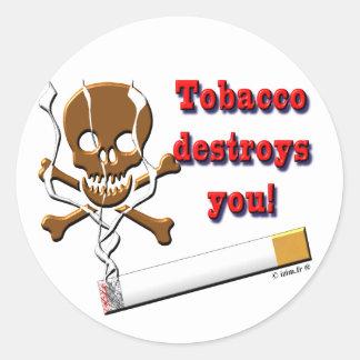 tobacco destroy you classic round sticker