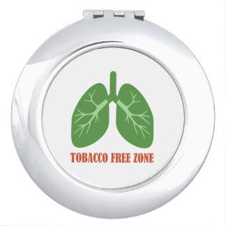 Tobacco Free Zone Makeup Mirror