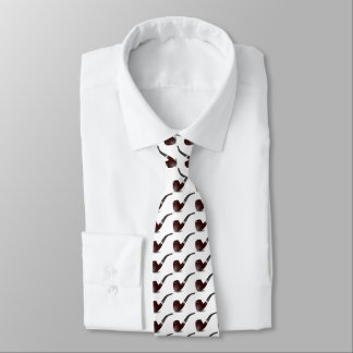 Tobacco pipe for smokers. White background. Tie