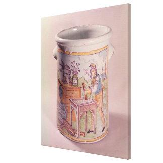 Tobacco pot depicting a tobacconist stretched canvas print