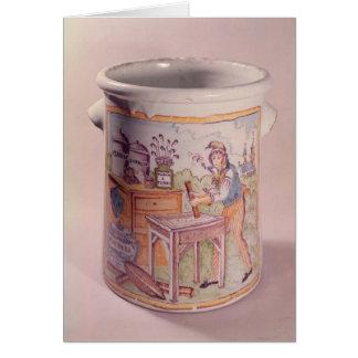 Tobacco pot depicting a tobacconist card