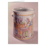 Tobacco pot depicting a tobacconist greeting card