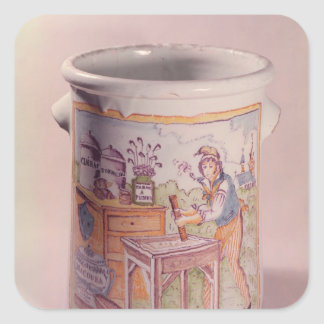 Tobacco pot depicting a tobacconist square stickers