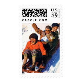 Tobagganing Postage Stamp