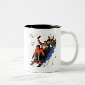 Tobagganing Two-Tone Coffee Mug