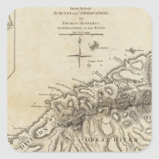 Tobago from actual surveys and observations square sticker