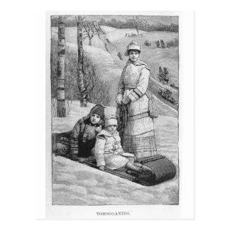Tobagonning Vintage Victorian Christmas Greetings Postcard