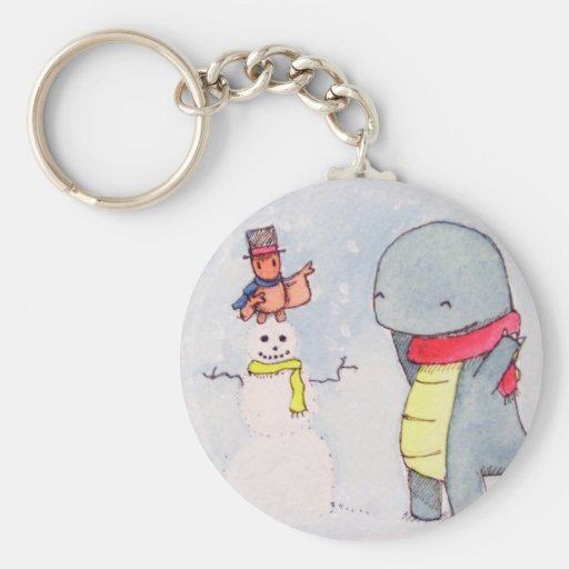 Tobey and Max Snowman Basic Round Button Keychain