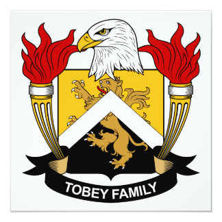 "Tobey Family Crest 5.25"" Square Invitation Card"