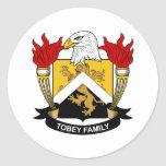 Tobey Family Crest Round Stickers