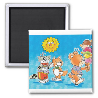 Tobi Teddy Bear and friends 2 Inch Square Magnet