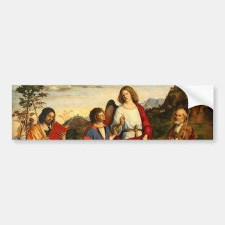 Tobias con el arcángel y dos santos pegatina de parachoque