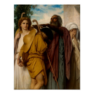 Tobias Saying Farewell to His Father by Bouguereau Poster