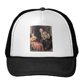 Tobias suspected his wife of stealing by Rembrandt Mesh Hats