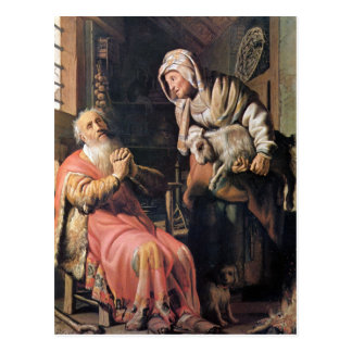 Tobias suspected his wife of stealing by Rembrandt Postcard