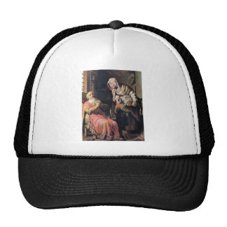 Tobias suspected his wife of theft by Rembrandt Mesh Hat