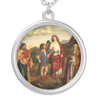 Tobias with the Archangel and Two Saints Silver Plated Necklace