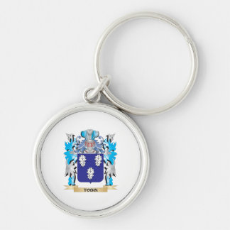 Tobin Coat of Arms - Family Crest Silver-Colored Round Keychain
