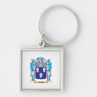 Tobin Coat of Arms - Family Crest Silver-Colored Square Keychain