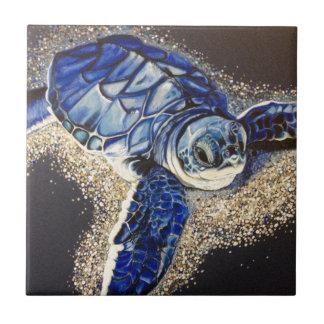Tobin la tortuga de mar del bebé azulejo cuadrado pequeño