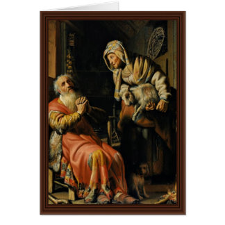 Tobit And Anna With The Kid Bokje By Rembrandt Van Card