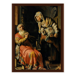 Tobit And Anna With The Kid Bokje By Rembrandt Van Postcard