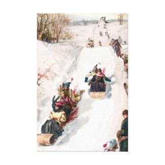 Tobogganing en la pintura del vintage del invierno lona envuelta para galerias