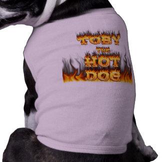 Toby la camisa del fuego del perrito caliente playera sin mangas para perro