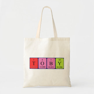 Toby periodic table name tote bag