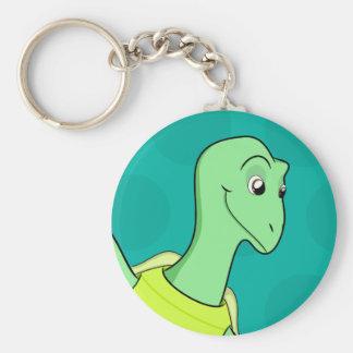 Toby Turtle Basic Round Button Keychain