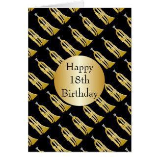 Toca la trompeta el décimo octavo cumpleaños tarjeta de felicitación