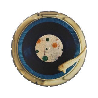 Tocadiscos del vintage latas de caramelos