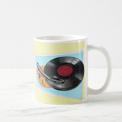 Tocadiscos retro del fonógrafo del kitsch del taza de café