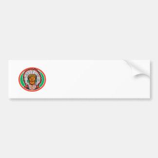 Tocado del jefe indio del nativo americano etiqueta de parachoque