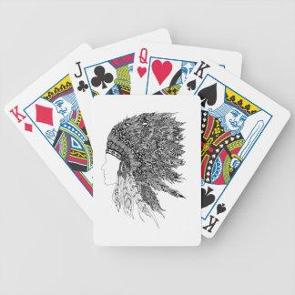 Tocado del nativo americano baraja cartas de poker