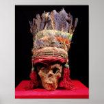 Tocado emplumado en un cráneo, de Perú Impresiones