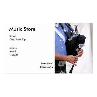 tocando la gaita, Music Store, calle, ciudad, Sta… Plantillas De Tarjeta De Negocio