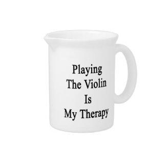 Tocar el violín es mi terapia jarras para bebida