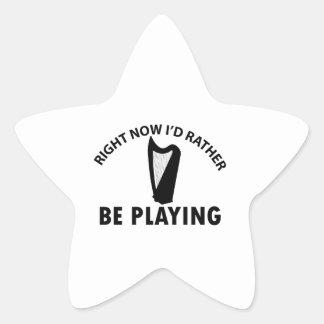 Tocar la arpa céltica pegatina en forma de estrella