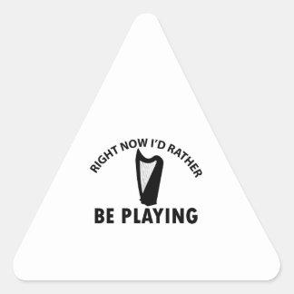 Tocar la arpa céltica pegatina triangular