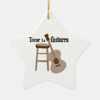 Tocar la Guitarra Double-Sided Star Ceramic Christmas Ornament